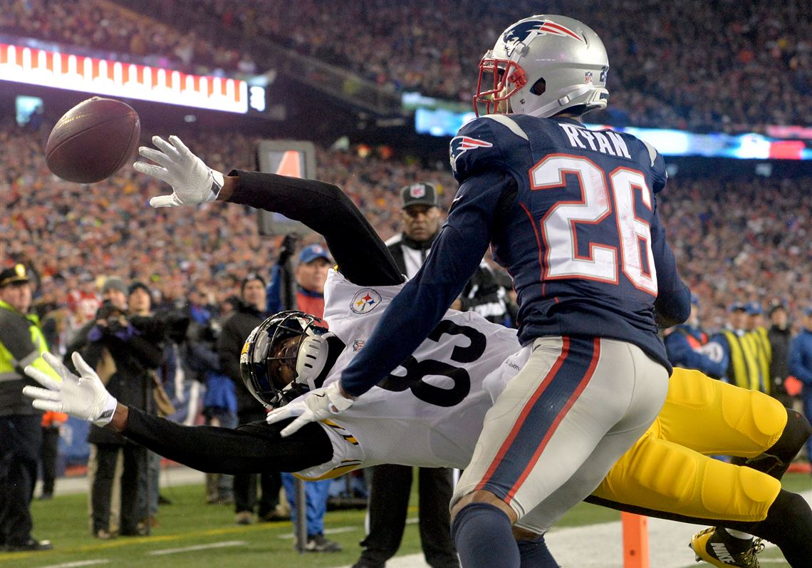 dc3270550 New England s Logan Ryan breaks up a pass intended for Steelers receiver Cobi  Hamilton in the