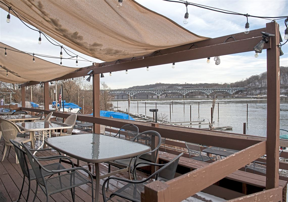 The back patio at Silky's Crows Nest and Marina, looking out at the boat docks on the Allegheny River, as seen in this file photo from Jan. 31, 2018.