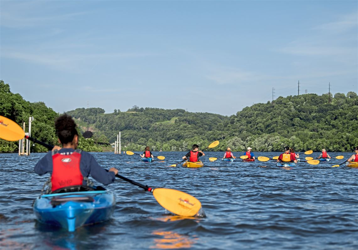 Kayakers set sail on the Allegheny River on Thursday, June 14, 2018 at Aspinwall Riverfront Park.