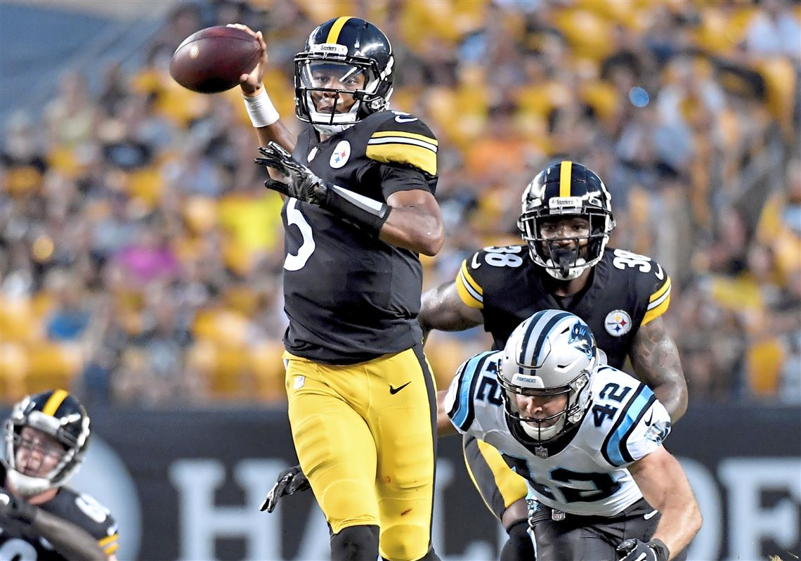 f8879e1c414 Steelers quarterback Josh Dobbs readies a pass against the Panthers in the  second quarter Thursday