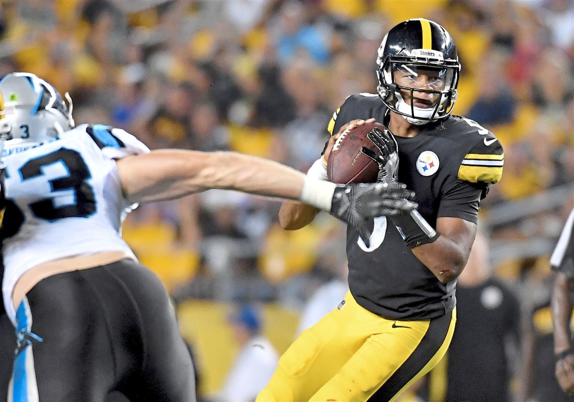 81d80ed3c Steelers quarterback Josh Dobbs drops back to pass against the Panthers in  the second quarter on
