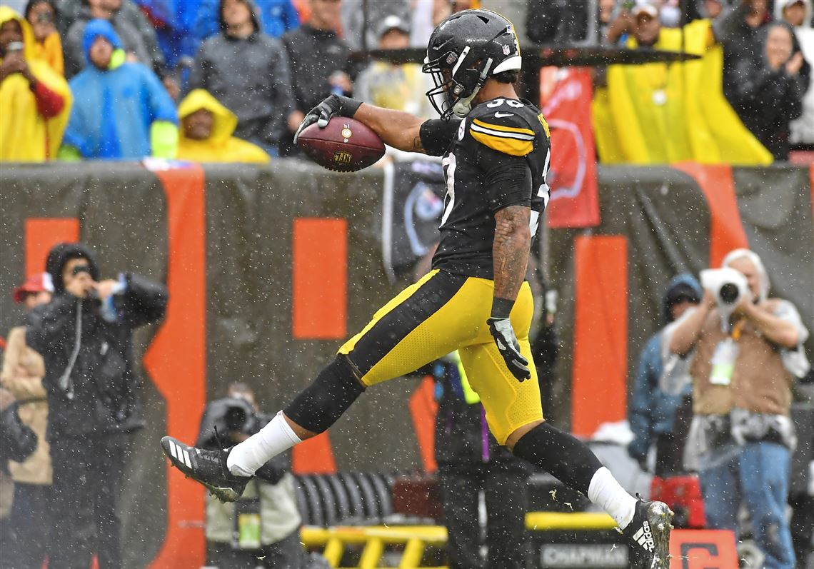 24cca1b339a Steelers running back James Conner scores a touchdown in the second quarter  against the Browns Sunday