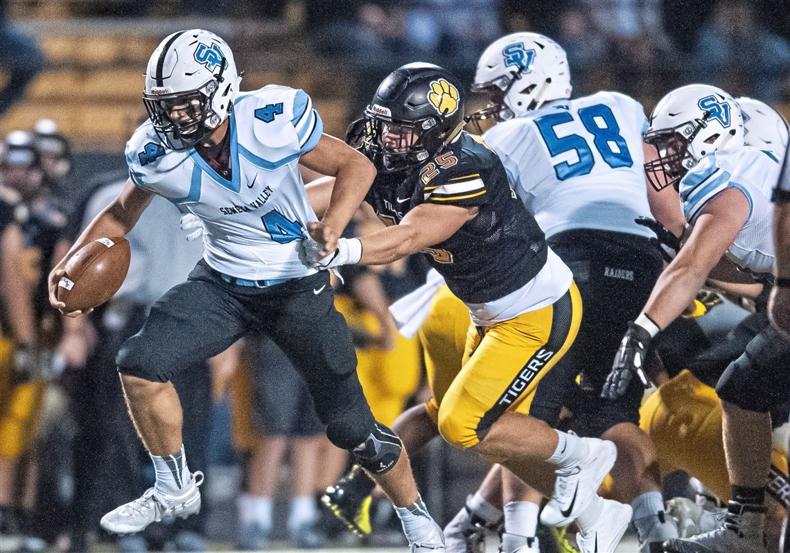 531a4bade North Allegheny's Cade Hoke, right, leads the team in tackles after missing  last season