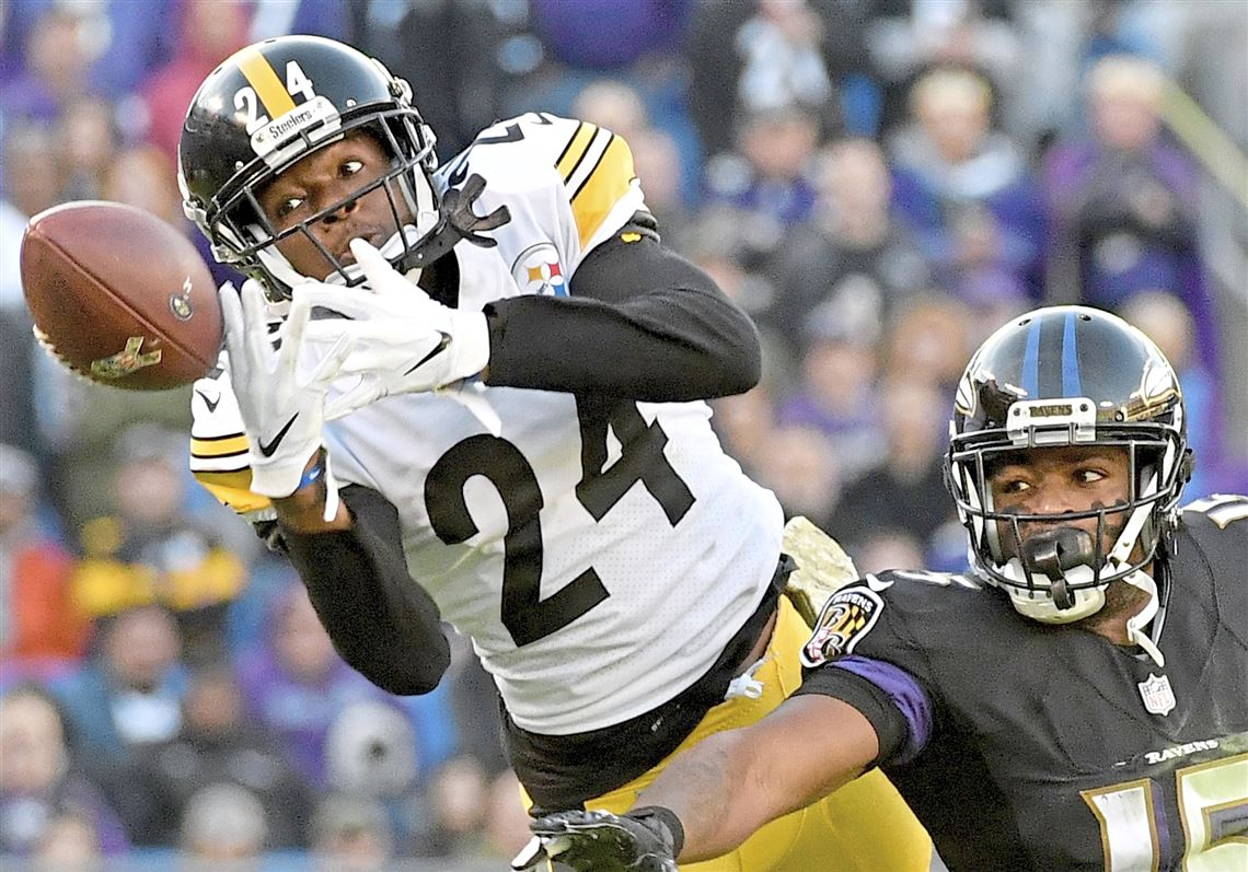 c8b76faad48 Steelers cornerback Cody Sensabaugh breaks up a pass intended for Ravens  wide receiver Michael Crabtree in
