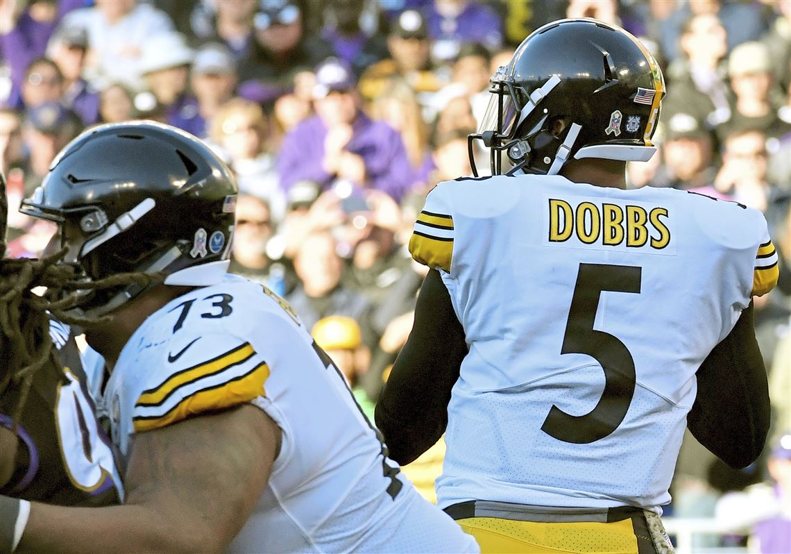 Steelers quarterback Josh Dobbs drops back to pass after Ben Roethlisberger  had the wind knocked out edb0750d8