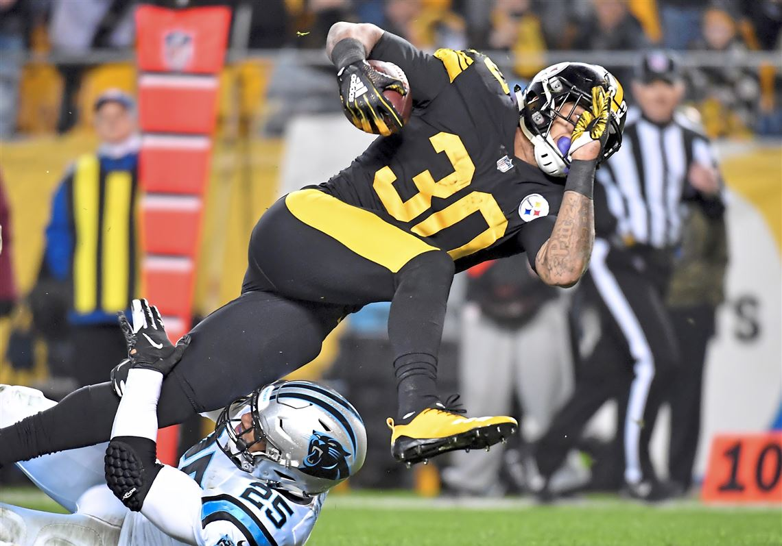 e9ba69dfb6a Steelers running back James Conner carries to the 2-yard line to set up a