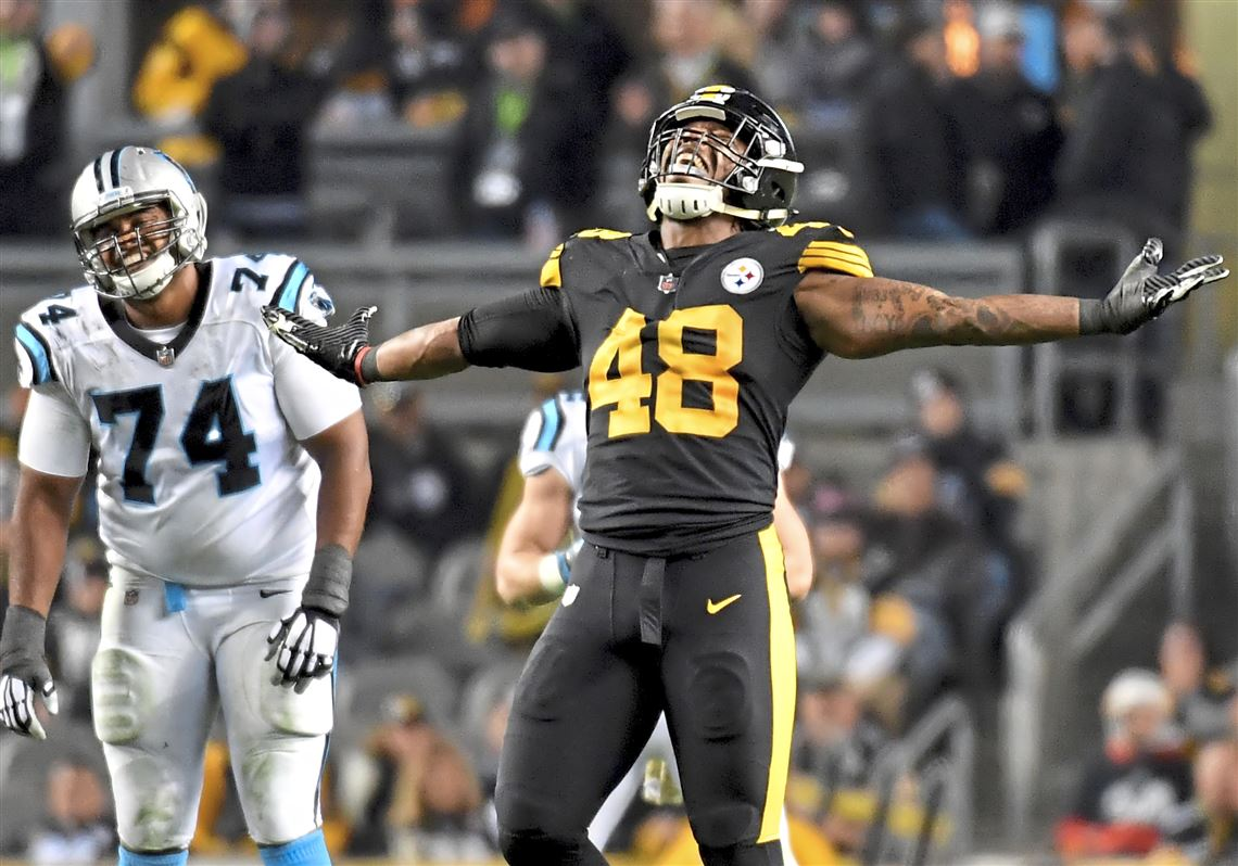 ce4dc0c0db1 Steelers linebacker Bud Dupree celebrates a penalty against the Panthers in  the second quarter Thursday,
