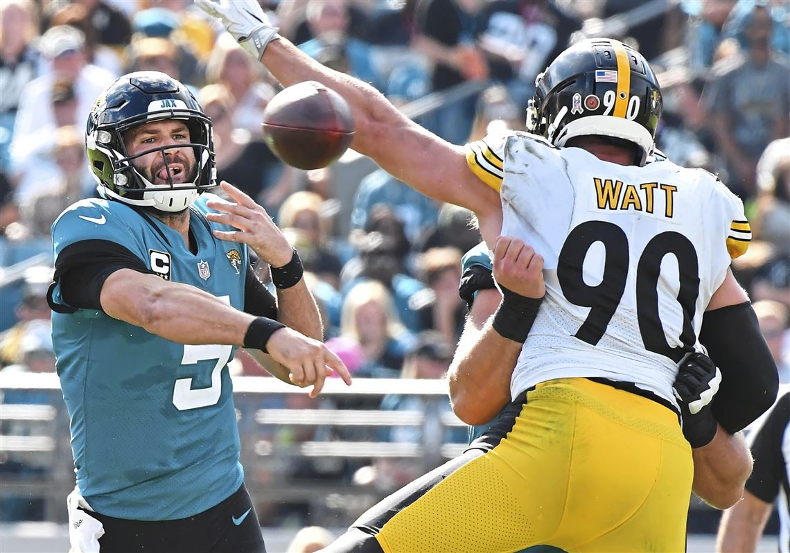 d3773c62a Pittsburgh Steelers outside linebacker T.J. Watt pressures Jacksonville  Jaguars quarterback Blake Bortles Sunday