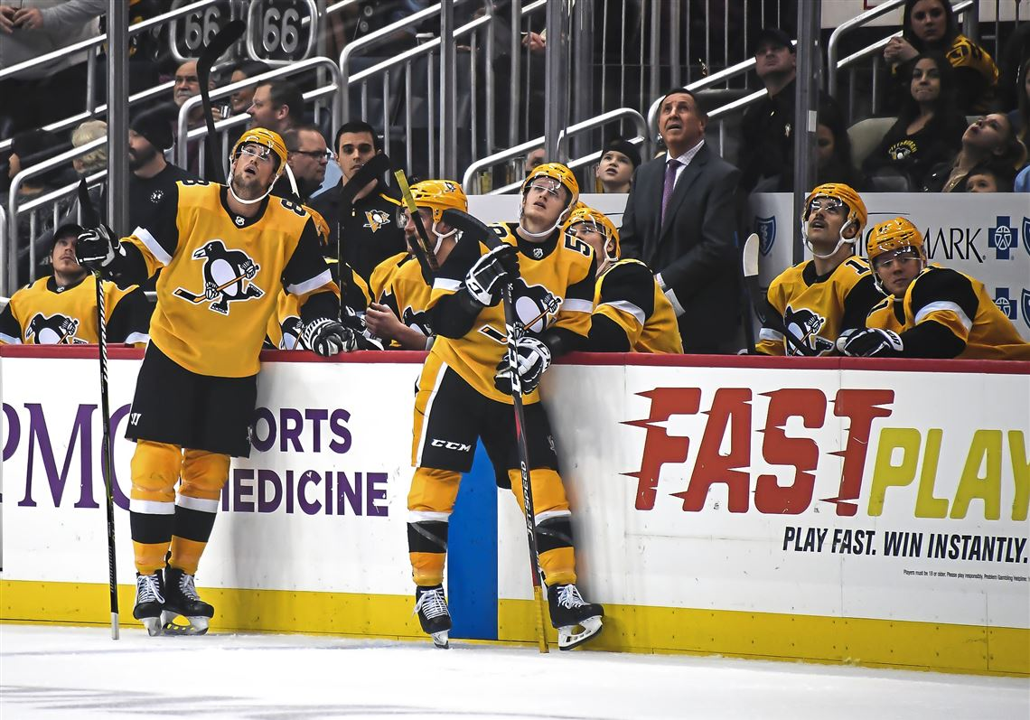 45769057e39 Penguins players watch a replay during Saturday s 4-2 win over Columbus.  (Alexandra. 1. MORE. Sidney Crosby ...