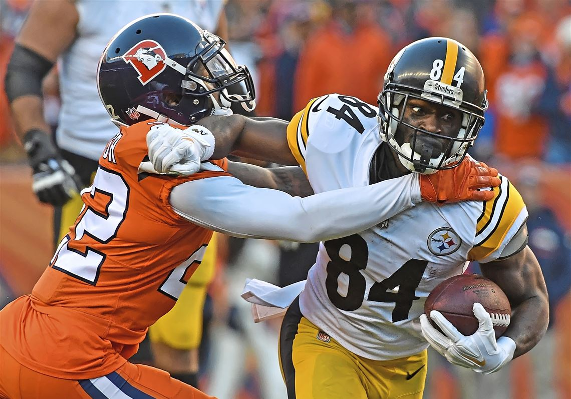 d464aa2b8 Pittsburgh Steelers wide receiver Antonio Brown fights off Denver Broncos  defensive back Tramaine Brock Sunday