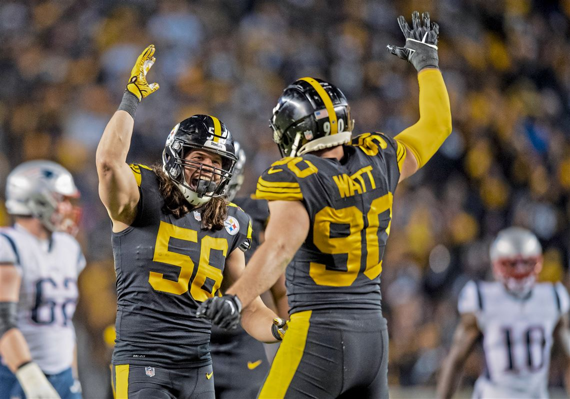 34e256bef Pittsburgh Steelers linebacker Anthony Chickillo  56 and Pittsburgh Steelers  outside linebacker T.J. Watt  90