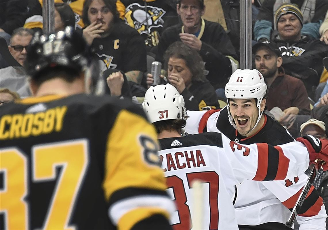 New Jersey Devils center Brian Boyle celebrates after scoring against the  Penguins in the second period 77c0b5a3b