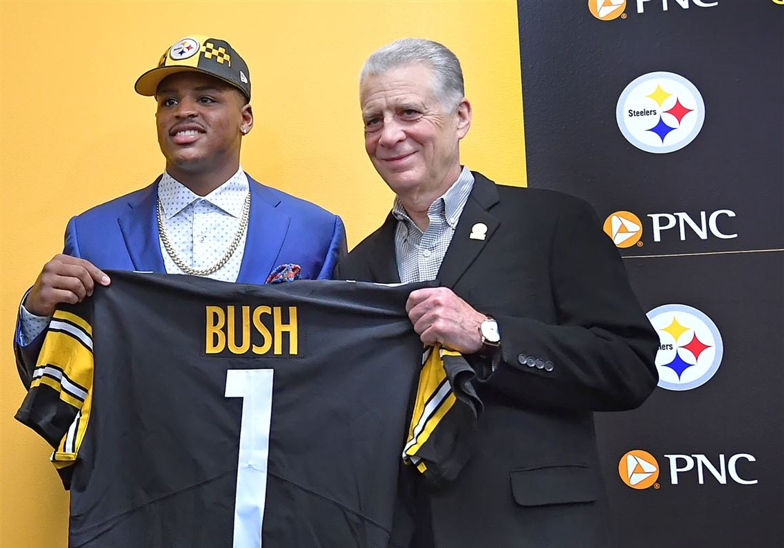 cedae67b5 Steelers president Art Rooney II poses with first-round draft pick Devin  Bush on Friday