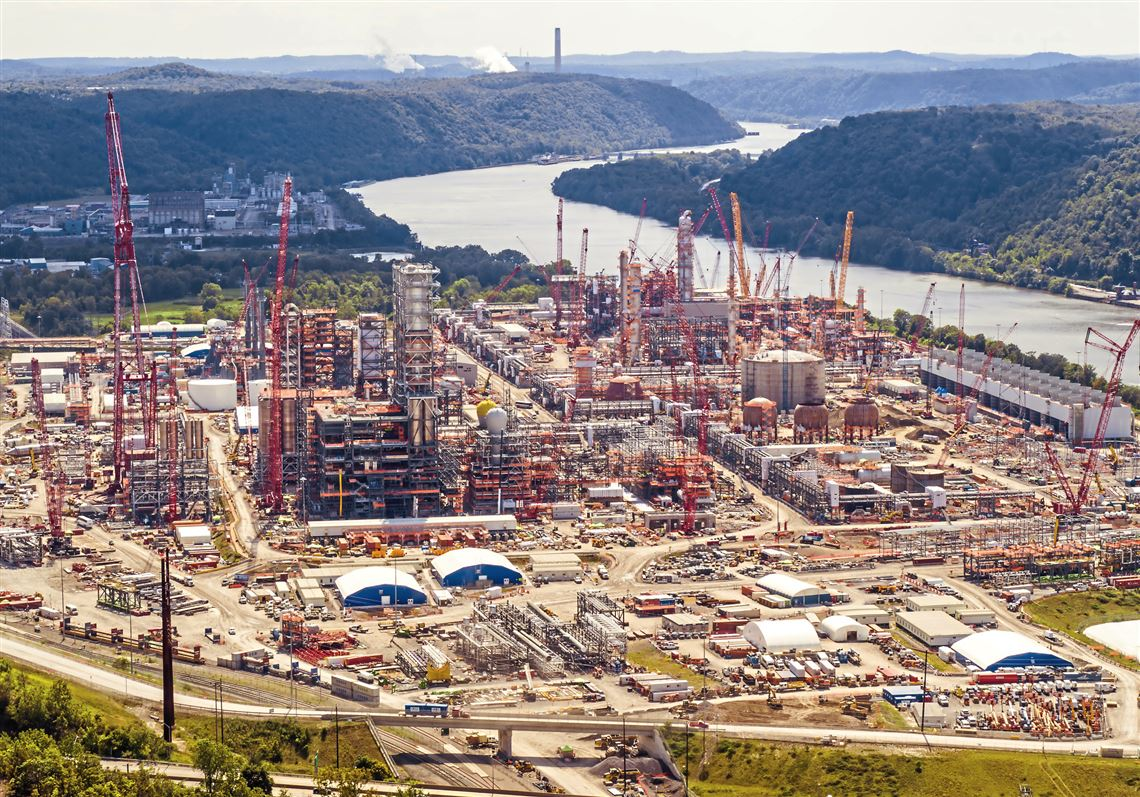 Shell's new petrochemical complex can be seen under construction on Friday, Aug. 9, 2019 in Potter, Beaver County.  The new ethane cracker plant and three other units promise to turn the natural gas liquid produced as part of the shale gas drilling into plastic pellets used by other industries.