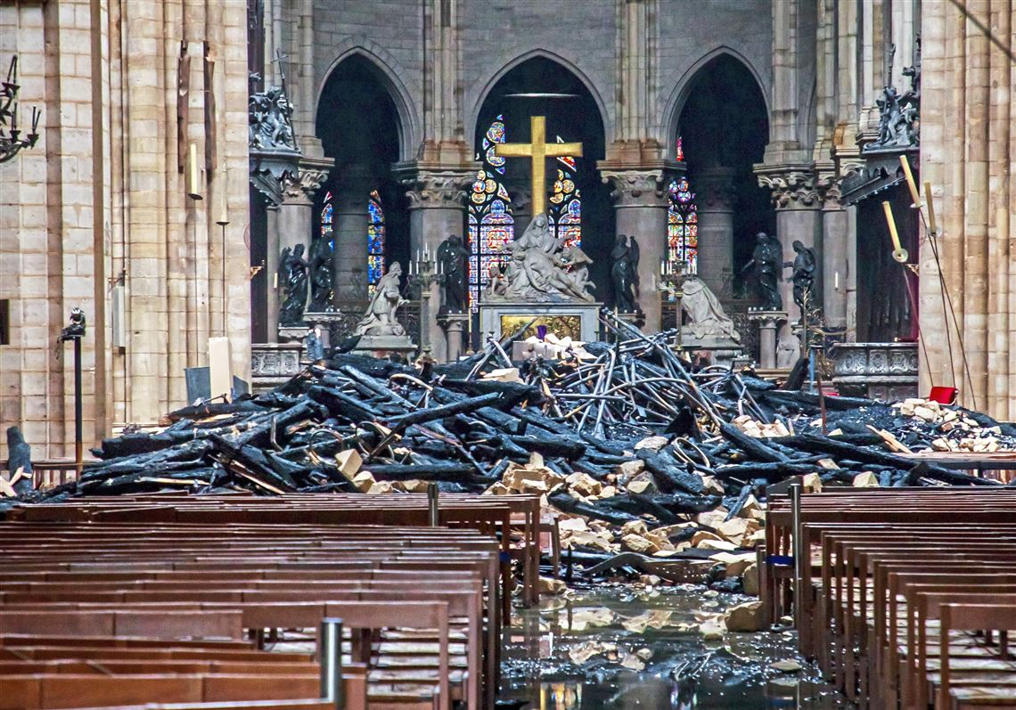 Image result for images of notre dame sanctuary after fire