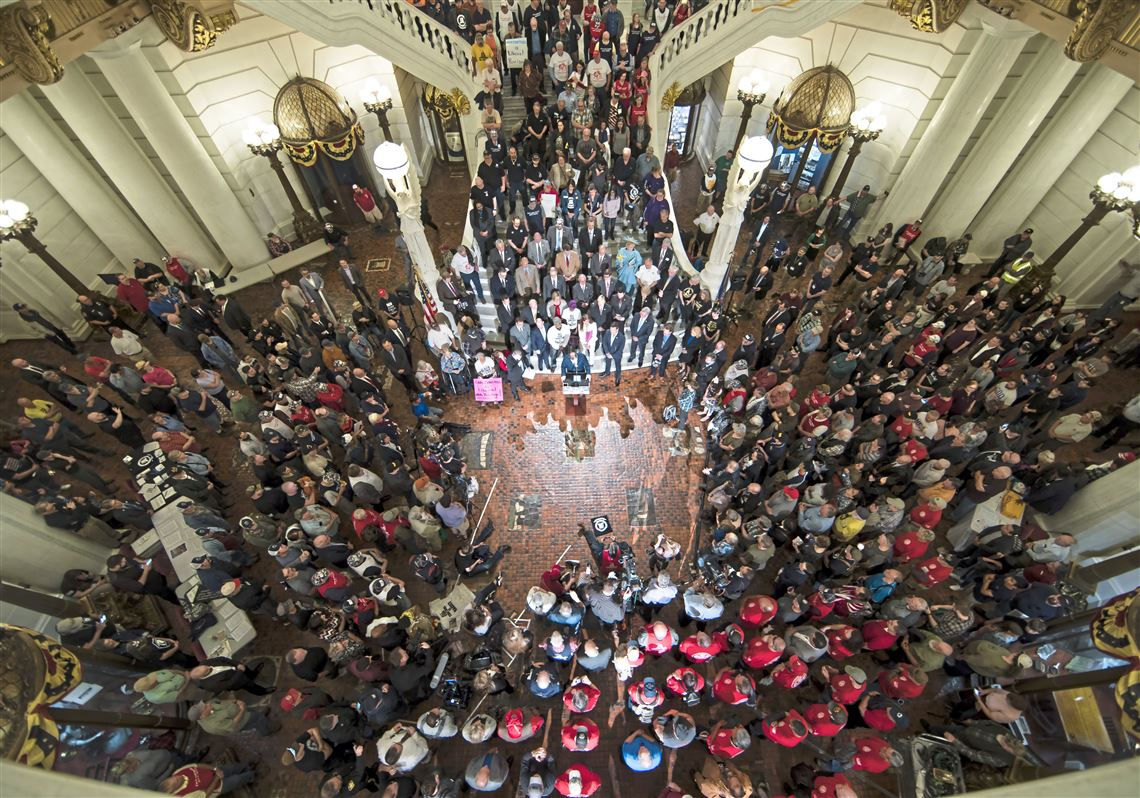 Gun rights advocates gather for an annual rally at the state Capitol in Harrisburg, Pa., Monday, May 6, 2019.