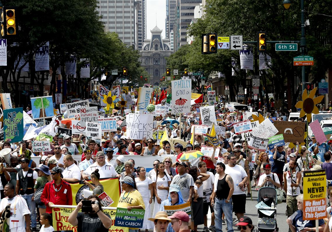 Dnc Steps Off In Philadelphia With Huge Protests High Temps Pittsburgh Post Gazette
