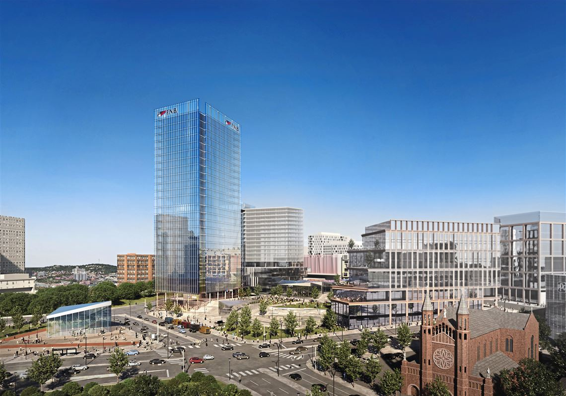 Rendering of the new 26-story office tower to be built at the former Civic Arena site. First National Bank will be the anchor tenant.
