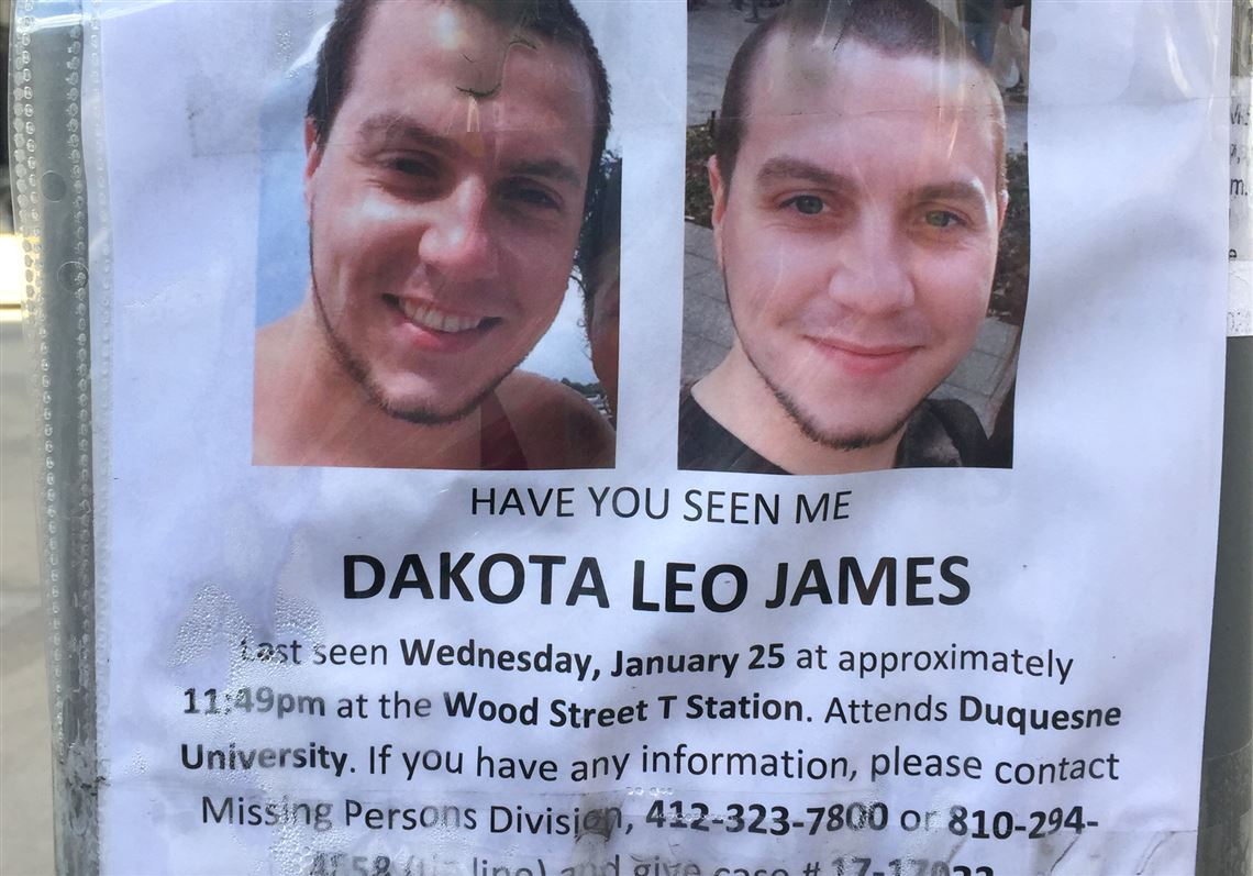 One of the fliers that the family of missing Duquesne University student  Dakota James put up 95d289a3c