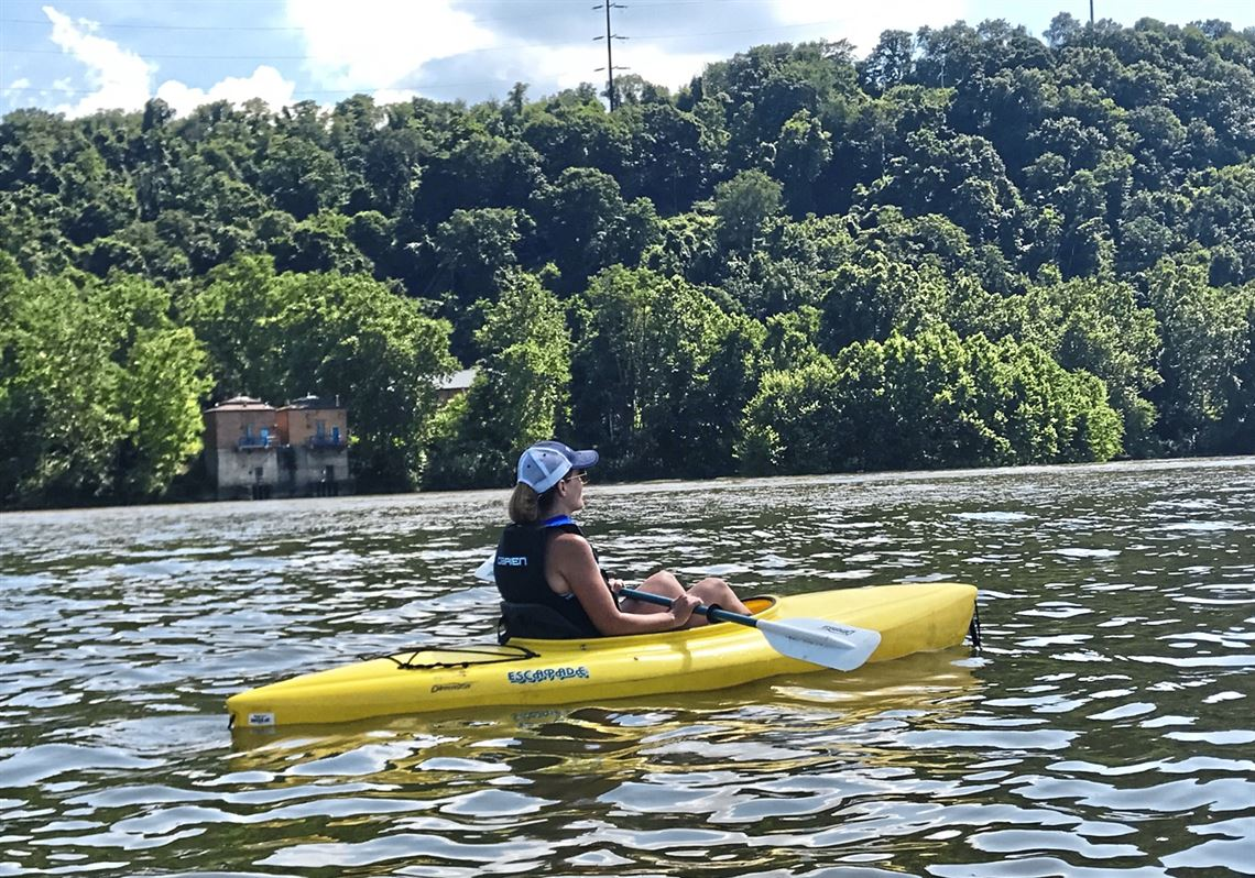 Kayaking on the Allegheny River near the Fox Chapel Marina.