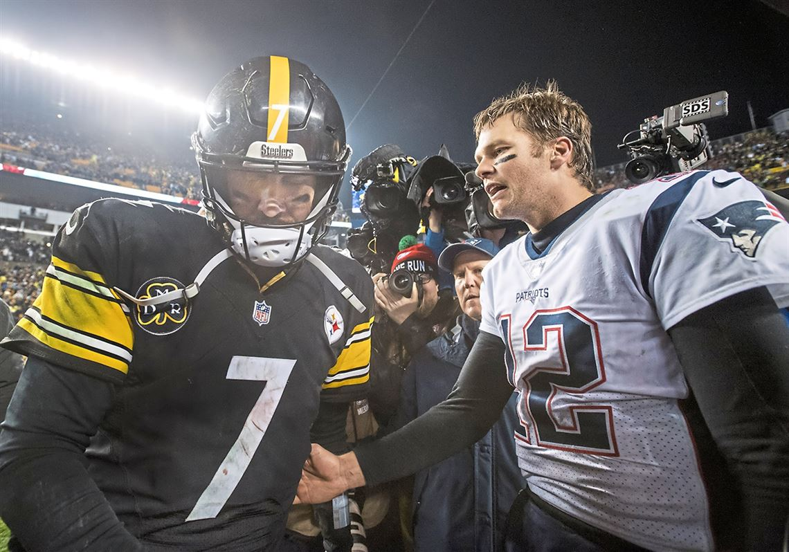 1615dca24 Steelers quarterback Ben Roethlisberger walks away dejected after  congratulating Patriots quarterback Tom Brady on Sunday,