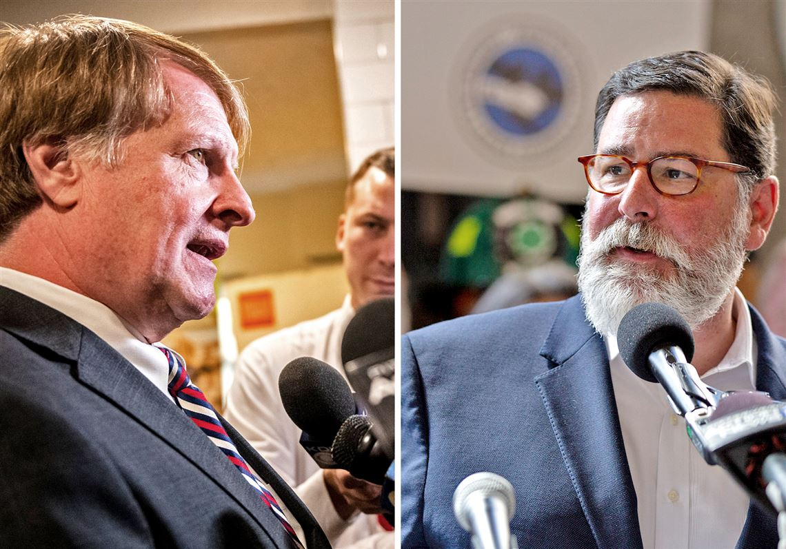 Mayor Bill Peduto, right was criticized by political ally Rich Fitzgerald, left, among others.