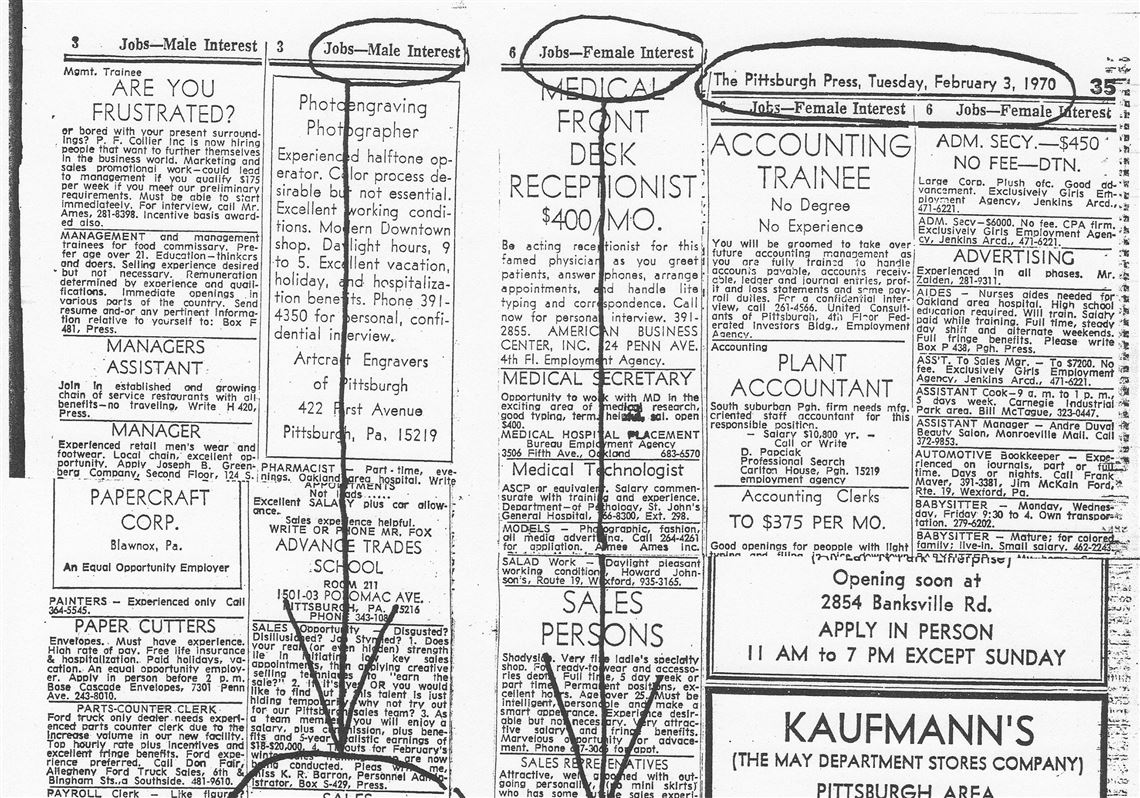 Long history of discriminatory newspaper ads | Pittsburgh Post-Gazette