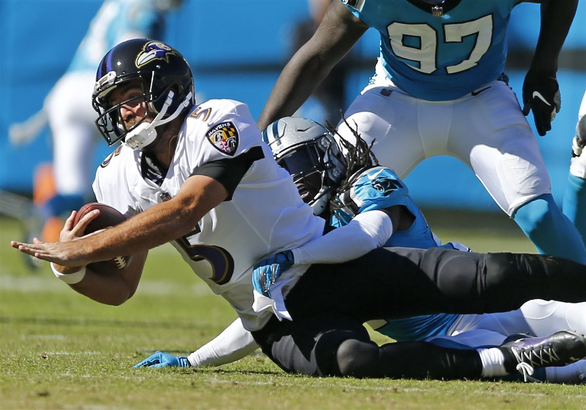 c35f56936 Joe Flacco is sacked by Carolina s Donte Jackson. Since beating the Steelers  at Heinz Field