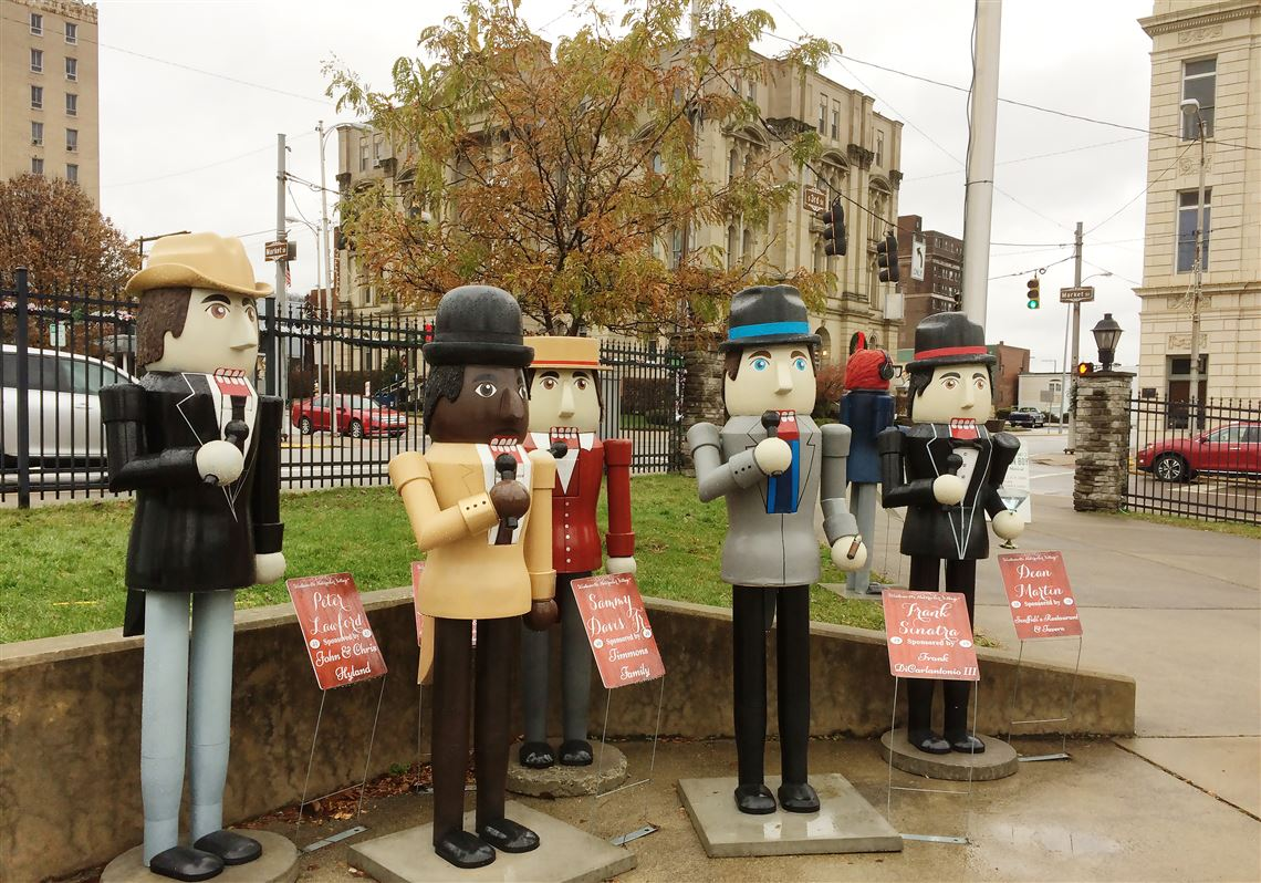 Steubenville's Nutcracker Village includes 170 lifesize nutcrackers, including these representing the famous Rat Pack. From left: Peter Lawford, Sammy Davis Jr., Joey Bishop, Frank Sinatra and Steubenville native Dean Martin.