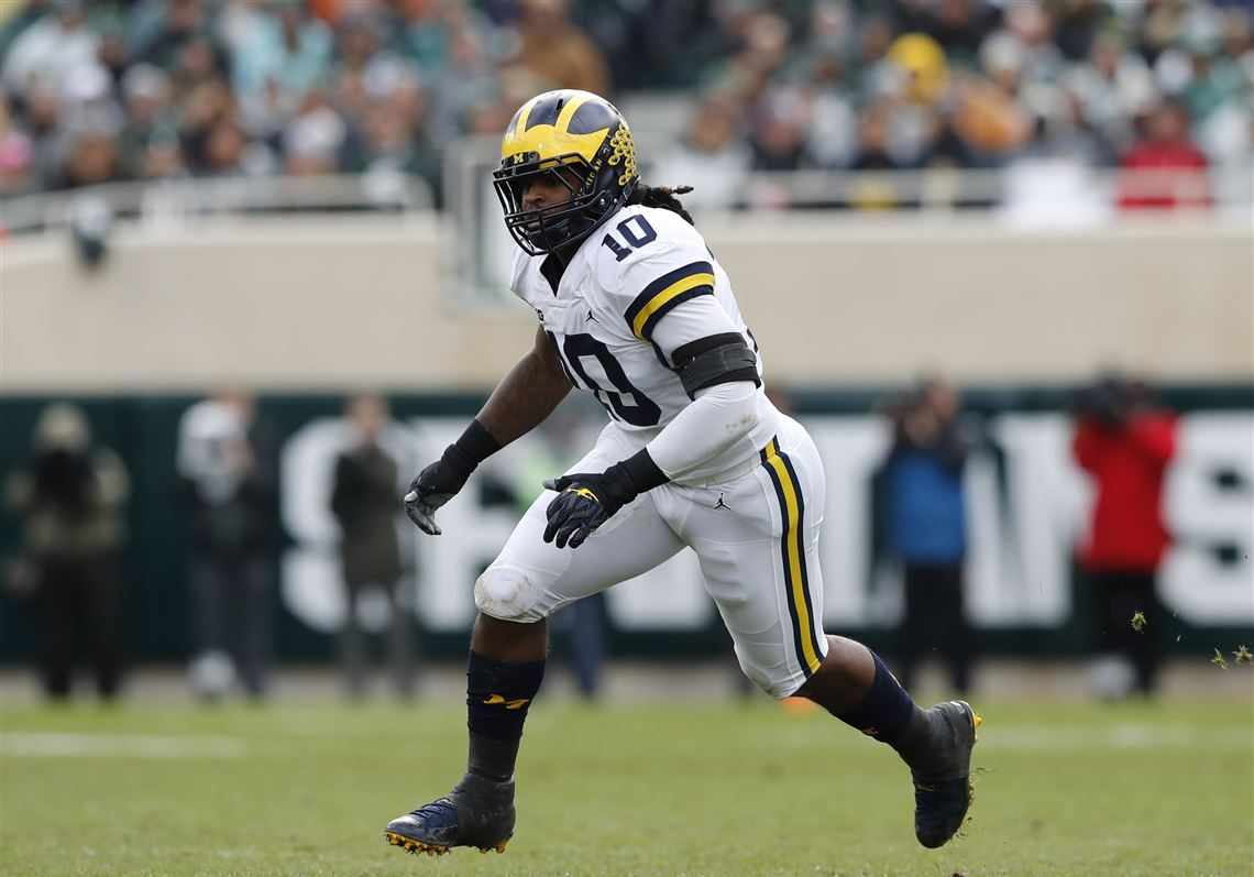 ddc479c63 Michigan linebacker Devin Bush is a popular choice for the Steelers in NFL  mock drafts.
