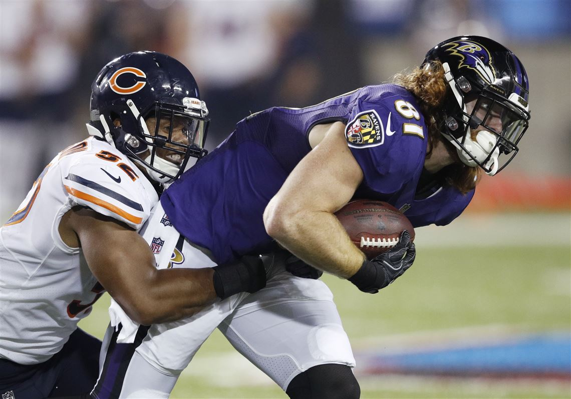 Hayden Hurst makes a reception against Chicago s Jonathan Anderson during  the Hall of Fame in August bc5990b57