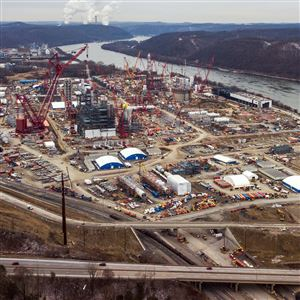 Construction continues on Royal Dutch Shell's petrochemical plant in January.