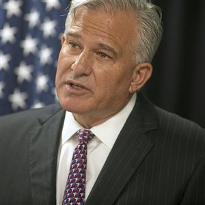 Allegheny County District Attorney Stephen A. Zappala Jr. during a Sept. 19, 2019, news conference at the Allegheny County police headquarters in Green Tree.