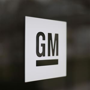 The General Motors logo at the company's world headquarters in Detroit
