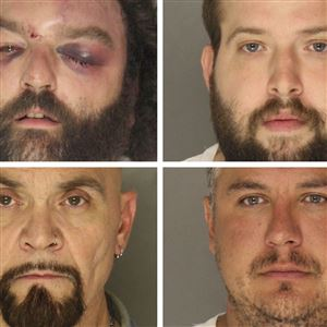 Four reputed members of the Pagans motorcycle club who were arrested Oct. 12, 2018 during a brawl with undercover Pittsburgh police officers at Kopy's Bar on the South Side. They are: Frank Deluca (top left); Erik Heitzenrater (top right); Bruce Thomas (bottom left); Michael Zokaites (bottom right)