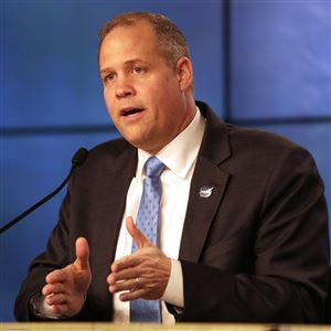 In this file photo, NASA Administrator Jim Bridenstine speaks during a news conference at the Kennedy Space Center in Cape Canaveral, Fla., on Jan. 19, 2020.