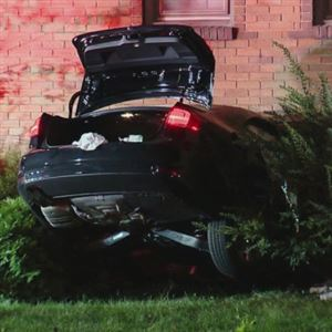 This vehicle crashed into an apartment building in Brookline Wednesday night.