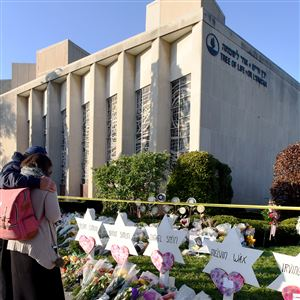 The Tree of Life synagogue in Squirrel Hill on Oct. 30, 2018, three days after a gunman opened fire inside, killing 11 people and injuring seven.