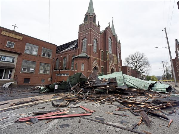 tornado confirmed near tarentum strong winds tear off church roof blow away hangar pittsburgh post gazette tornado confirmed near tarentum strong